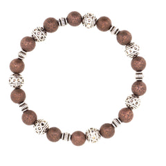 Handmade Red Copper Stardust with antique silver tibetan style beads stretch bracelet