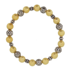 Handmade Gold Stardust with antique silver tibetan style beads stretch bracelet