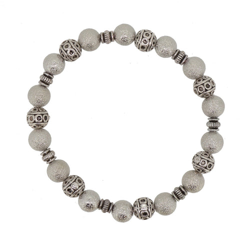 Handmade Silver Stardust with antique silver tibetan style beads stretch bracelet