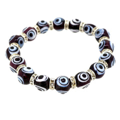 Handmade Crystal Turkey Black Evil Eye Bead Jewelry Stretch Bracelet