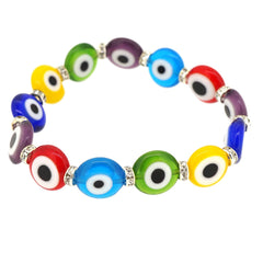 Handmade Fashion Crystal Multi Color Turkish Evil Murano Eye Jewelry Bead Stretch Bracelet