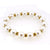 12mm Faux Glass Round Pearl w 6mm Golden Rhinestone Beads Stretch Jewelry Bracelet