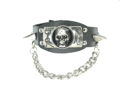 Skull Skeleton Black Leather Heavily Metal Style Wristband Bracelet Cuff Style A