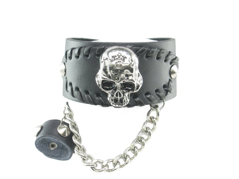 Skull Black Leather Heavily Metal Style W Hand Ring Stretch Studed Wristband Bracelet Cuff Style B