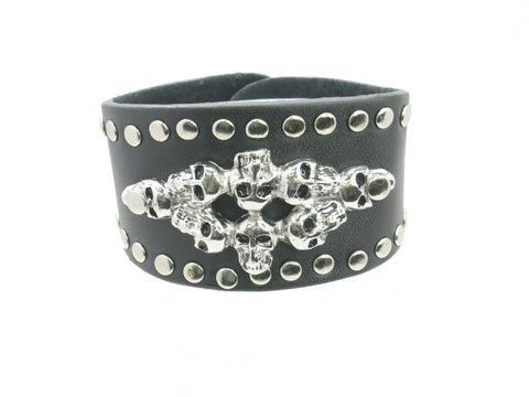 8 Skull Head Black Leather Heavily Metal Style with Studed Wristband Bracelet Cuff Style C