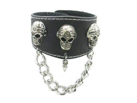 3 Skull Head with Chain Black Leather Heavily Metal Style Wristband Bracelet Cuff Style D