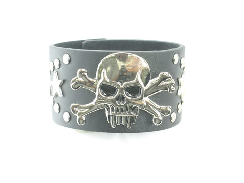 Skull Head with Star and Stud Black Leather Heavily Metal Style Wristband Bracelet Cuff Style E