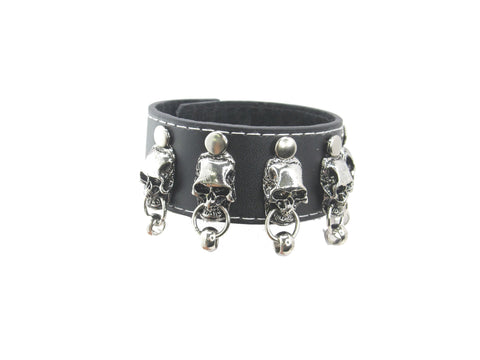 Big Skull Head Crossbone 2 Small Skull Chain Black Leather Heavily Metal Style Wristband Bracelet Cuff Style H