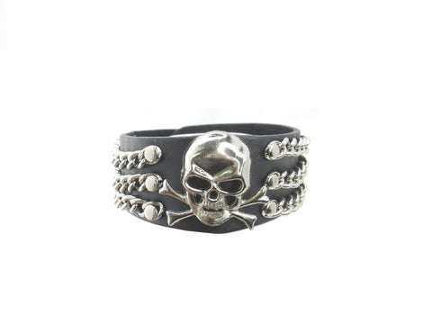 Skull Crossbone 3 Rows Chain Black Leather Heavily Metal Style Wristband Bracelet Cuff Style J