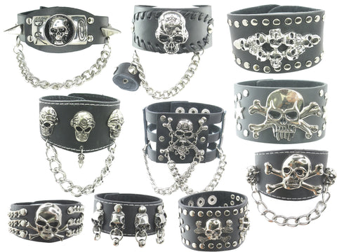 Wholesale Lot of 10 Skull Leather Gothic Punk Bracelets Wristbands Cuffs for Men