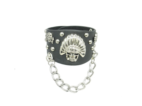 Gothic Tribal Skull Black Leather Heavily Metal Style Wristband Bracelet Cuff Style G