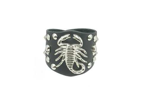 Goth Eagle Skull Black Leather Heavily Metal Style Wristband Bracelet Cuff Style I