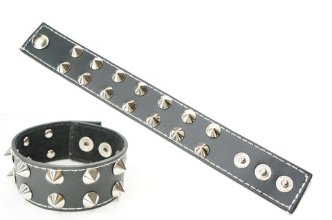 Black Leather Gothic Punk Bracelets Wristbands Cuffs for Men