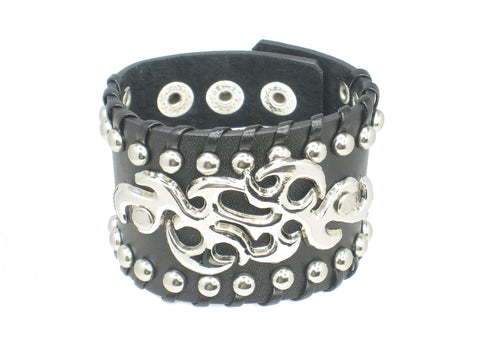 Gothic Pattern Ornament Black Leather Heavily Metal Style Wristband Bracelet Cuff Style A