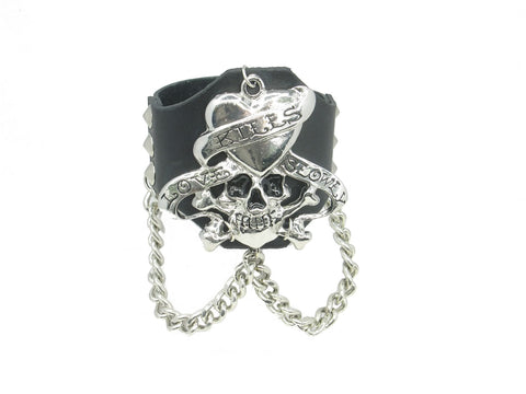 Heart Skull Head W Chain and Stud Black Leather Heavily Metal Style Wristband Bracelet Cuff Style D