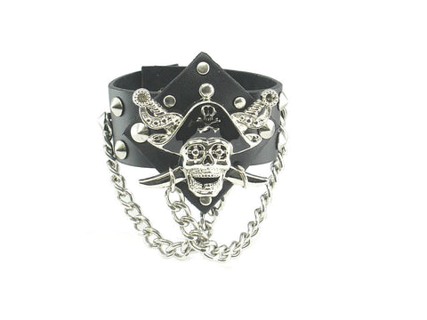 Pirate Skull Ghost Black Leather Heavily Metal Style Wristband Bracelet Cuff