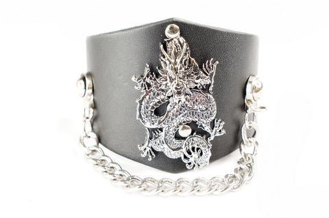Punk Gothic Dragon w Chain Faux Black Leather Wide Bracelet Wristband Cuff