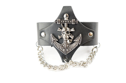 Punk Gothic Pirate Skull Cross Faux Black Leather Wide Bracelet Wristband Cuff