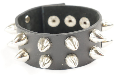 Punk Gothic 2 Rows Stud Spike Rivet Faux Black Leather Wide Bracelet Wristband