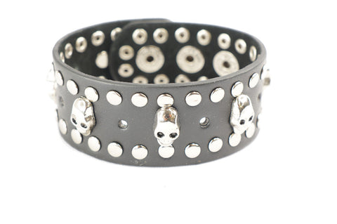 Punk Gothic Biker 6 Skull Stud Faux Black Leather Wide Bracelet Wristband
