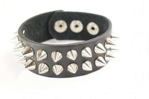 Punk Gothic Biker 2 Rows 22 Cone Faux Black Leather Wide Bracelet Wristband