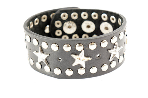Punk Gothic Biker 6 Silver Star Stud Faux Black Leather Wide Bracelet Wristband