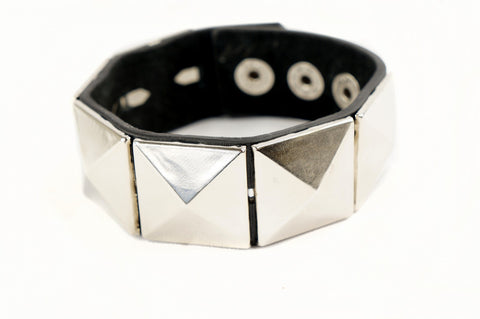 Punk Gothic Biker 6 Big Squre Stud Faux Black Leather Wide Bracelet Wristband