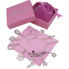 Silver Plated Link Chain Bracelet with 10 Removable Crystal Charms for Kids Teen Girls Women