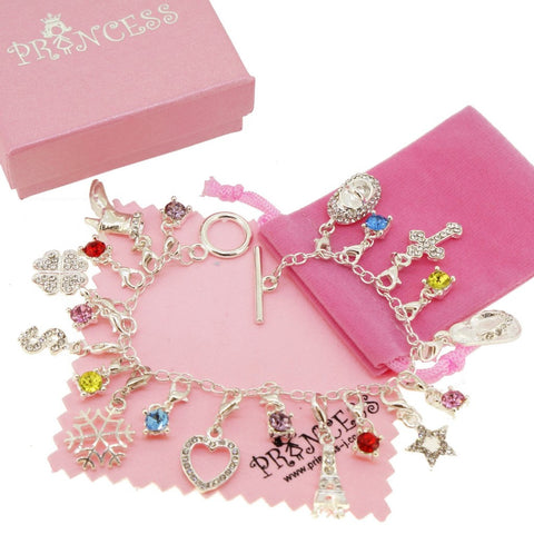 Silver Plated Charm Bracelet with 20 Crystal Charms for Kids Teen Girls Women, Fashion Jewelry