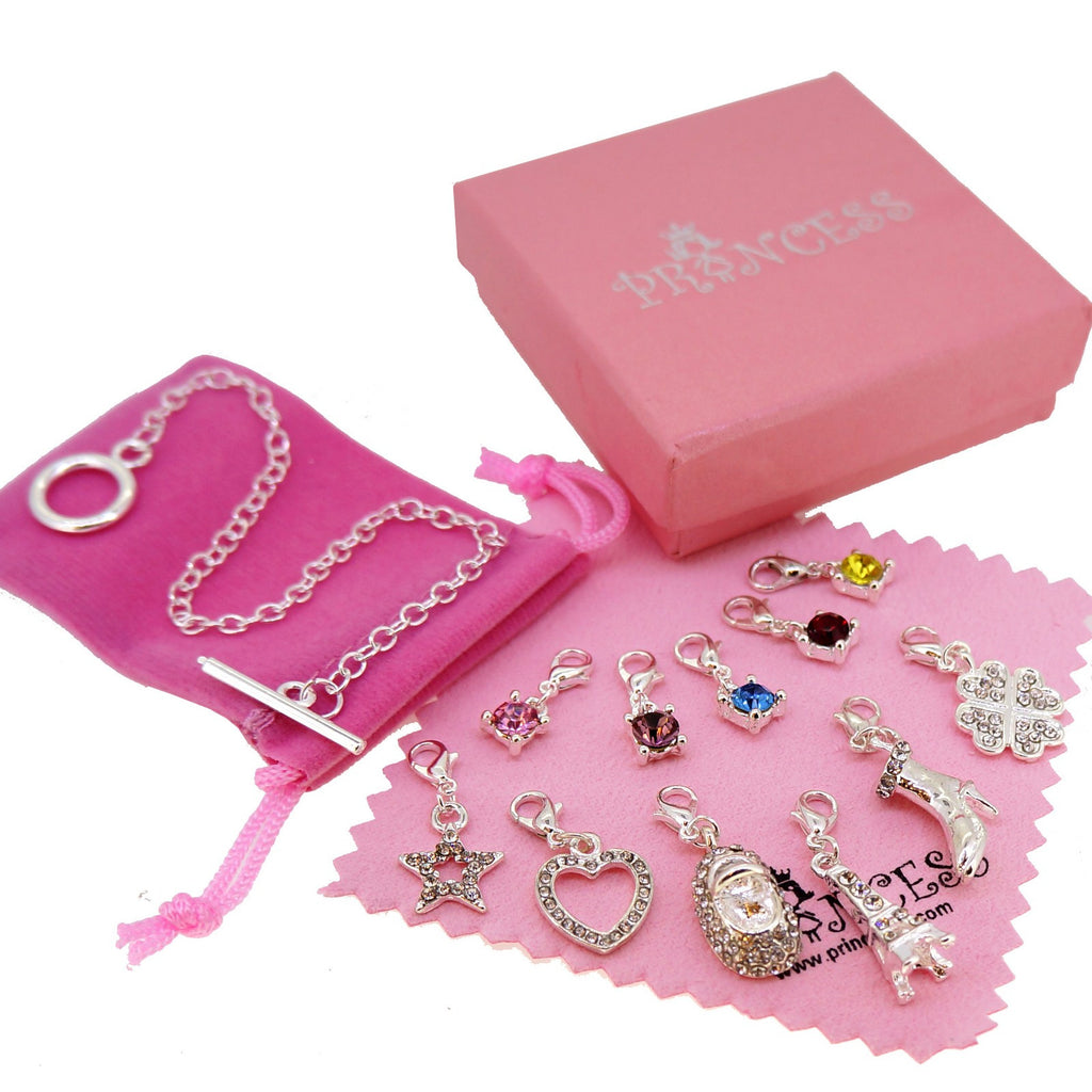 Silver Plated Charm Bracelet With 11 Crystal Charms For Kids Teen Girls  Women, Fashion Jewelry