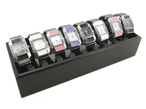 Black Faux Leatherette Jewelry Display Case, 10 slots for Bangle