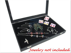 Black Velvet Liner Protable Jewelry Utility Glass Top Display Box