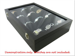 Glass Top Jewelry Display Box with Pillows, 12 Compartments, for Watches, Bangles