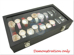 Glass Top Black Velvet Jewelry Display Box , 18 Slots , for Watches, Bangles