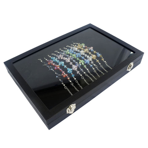 Black Velvet Liner Protable Jewelry Utility Glass Top Display Box for Bracelet Necklace