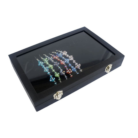 Glass Top Black Velvet Jewelry Display Box for Necklace Bracelet, 18 Clips