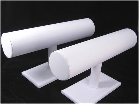 White Faux Leatherette T-Bar Display Stand for Jewelry Bracelet, Bangles, Watches, Pack of 2