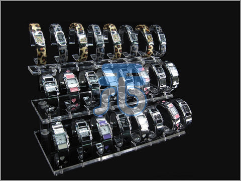 Clear Acrylic Display Stand for Jewelry Bangle, Watches. Capacity 24, 3 Layer