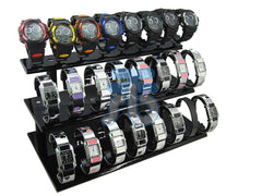 Black Acrylic Display Stand for Jewelry Bangle, Watches. Capacity 24, 3 Layer