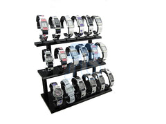 Black Acrylic Display Stand for Jewelry Bangle, Watches. Capacity 18, 3 Layer