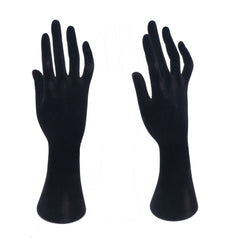 27cm Tall Black Velvet Elegant Hand Up Display Stand for Fashion Jewelry Ring, Necklace, Bracelet, Set of 2