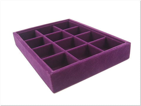 12 Compartment Jewelry Display Small Case / Tray, Purple Color
