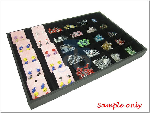 30 Compartment Jewelry Display Case / Tray, Black Color