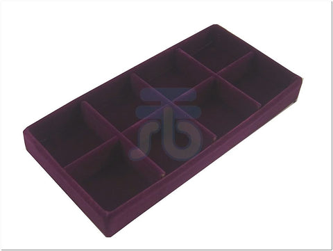 8 Compartment Insert for Jewelry Display Case / Glass Top Box, Purple Color