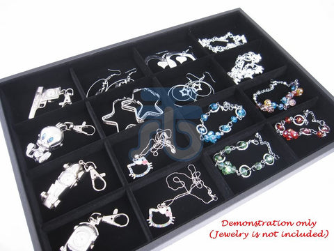 16 Compartment Jewelry Display Case / Tray, Black Color