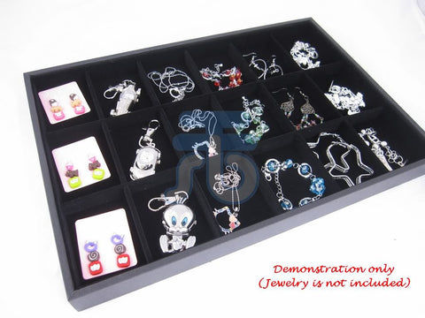18 Compartment Jewelry Display Case / Tray, Black Color