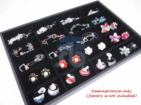 20 Compartment Jewelry Display Case / Tray, Black Color