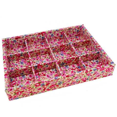 Fabric Floral Pattern 12 Compartments Jewelry Display Case