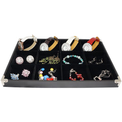Black Jewelry 12 Compartment Display Case with Silver Decorative Corner, 35x24cm for Presentation