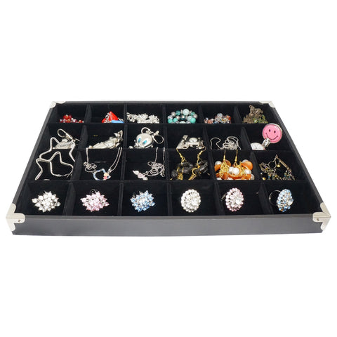 Black Jewelry 24 Compartment Display Case with Silver Decorative Corner, 35x24cm, for Presentation